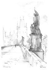 original drawing A4 174GZ art samovar Graphite sketch landscape Signed 2020