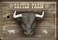 Retro Tin Metal Postcard 'CATTLE FARM' Cow Mini Sign 10 x 14cm Texas Hill County