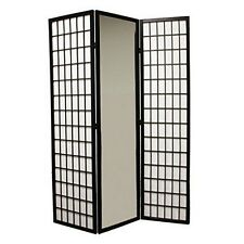 ORE N1026-3-BLACK Ore International 3-Panel Black Finish Mirror Room Divider NEW