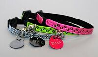 GLOSS REFLECTIVE CAT,KITTEN COLLAR & BELL, WITH A PET ID TAG ENGRAVED BOTH SIDE