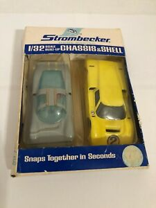 VINTAGE STROMBECKER 1/32 PORSCHE & FORD GT CHASSIS & SHELL SLOT CAR SET IN BOX