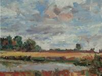 Art Original Oil Painting by RM Mortensen Landscape Seascape Lake Sky Clouds