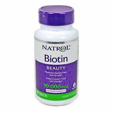 Natrol Biotin 10000 mcg 100 Tablets Hair Skin and Nails Maximum Qty 6