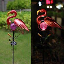 Metal Solar Flamingo Garden Decor Sculpture Yard Lawn Patio Home Statue Stake