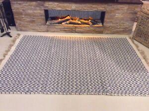 Denim Blue Chevron Handmade Recycled Cotton Jute Washable Kilim Area Rugs 40%OFF