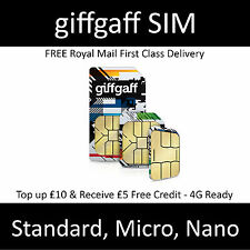 Giffgaff Nano/Micro/Standard gifgaf �€� 3 in 1 SIM FREE �€� £5 Credit Unlim. Data