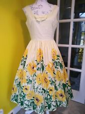 Banned Apparel Dancing Days Yellow Sunflower Print Swing Dress Size 10-12 (S)