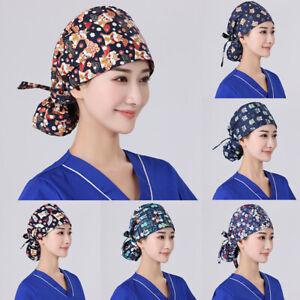 Surgical Scrub Caps Doctor Nurse Bouffant Hat Adjustable Head Cover Ponytail Cap