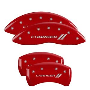 MGP Caliper Covers Red, Silver Charger ll for 2011-2019 Dodge Challenger /