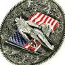 American USA Flag Pattern Cowboy Western Metal Belt Buckle for Men's Gift