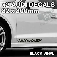 AUDI 2 x DOOR / SIDE SKIRT DECALS VINYL STICKERS - For all Models - BLACK
