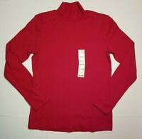 ST JOHNS BAY WOMENS MOCK NECK LONG SLEEVE SHIRT RED S NWT **SHIPS FAST**