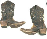 Corral Woman's Boots Vintage Cowboy Musgo Python Cutout Crosses Brown 6M