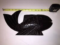 Vintage   Hand Carved Wooden Fish Dark Wood Folk Art