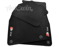 AUDI Q5 SUV 2008-2015 Black Floor Mats RHD With Sline Logo With Clips UK Model