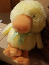 FAO Schwarz Baby Plush Duck Yellow Orange Soft Stuffed Ribbon Bow Easter