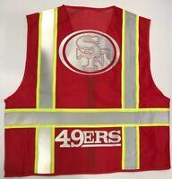 🏈 49ERS RED REFLECTIVE SAFETY VEST W/SILVER REFLECTIVE LOGO SIZE. M-L-XL-2X3X4