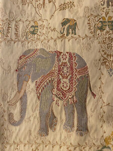 PIER 1 One IMPORTS 2 Lined Curtain Panels Boho Elephant Floral Gold 50 x 84
