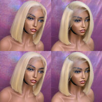 #613 Blonde Short Straight Bob Lace Front Wigs Indian Remy Human Hair Wig Black