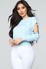 Fashion Nova Sweater blue Long Sleeve Crew Neck Hardware Detail Size S