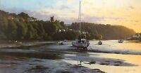 "PETER SYMONDS ""Eventide"" estuary boats SIGNED LTD ED! SIZE:49cm x 82cm NEW RARE"