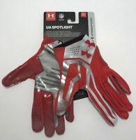 Under Armour Mens Size Medium UA Spotlight Football Gloves Red Chrome $60