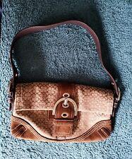COACH Brown Suede Leather Sig C Buckle Flap Soho Hobo Shoulder Bag Purse #3628