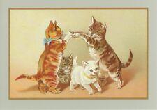 Ginger Cat Gatos Jugando en Blanco Tarjeta de Cumpleaños Tarjeta De Saludos