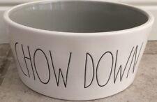 New listing Rae Dunn Magenta Chow Down Extra Large Dog Bowl / Food Bowl Ceramic Grey Glaze