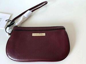 Calvin Klein Pebbled Leather Wristlet Burgundy