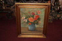 Antique Still Life Oil Painting Bouquet Flowers Vase Wood Frame Canvas Painting