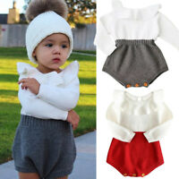 NEW Newborn Baby Girls Wool Long Sleeve Bodysuit Romper Jumpsuit Outfit Clothes