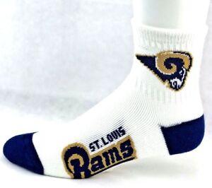 St. Louis Rams Football White & Navy Deuce Quarter Socks