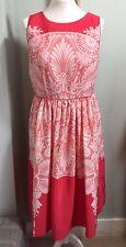 MONSOON Pink Patterned Dress Size 14 Full Skirt Keyhole Back Party Wedding Races