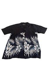 Favant Mens Tropical Floral Hawaiian Shirt Sz Large Black & White NWT