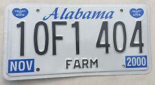 "2000 ALABAMA LICENSE PLATE "" 10F1 404 "" AL FARM FARMER FARMS FARMING AGRICULTURE"