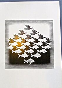 M C Escher Circle Limit IV  SKY and WATER-16x11 Offset Lithograph Image is 9x9