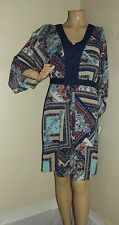 "NY COLLECTION Small NAVY BLUE PRINT HANDKERCHIEF DRESS midi Turquoise Tan ""S"""