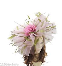 Pink Olive Green Fascinator for Ascot, Weddings, Proms, Derby J1
