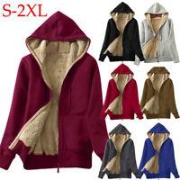 Felpa con cappuccio da donna Inverno Foderd zip up giacca cappotto outerwear