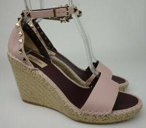 Valentino Garavani Rockstud Espadrille Wedge Pink Water Rose Leather Shoe Sze 41