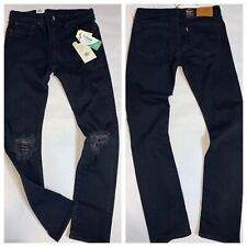 Levi's 519 Extreme Skinny Stretch Tencel Blk Wash Men's 34x32 Flannel Rip Jeans