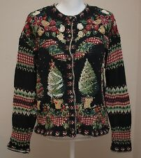Tiara International Ugly Christmas Sweater Cardigan Cotton Size Petite Medium PM