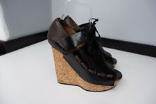 acne studios Black & Brown Shoes Wedge Heels Size 40 Uk 7 Lace Up