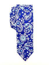 $124 TALLIA Men WHITE BLUE PAISLEY SKINNY NECK TIE DRESS SLIM NECKTIE 58x2.75
