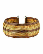 Charriol Women 14 ROW 18k Gold Stainless Steel Wide Cable Cuff Bracelet BNWT