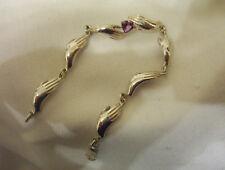 """Hands"" 925 Handmade Silver Heart Shaped Amethyst 7 Hands Ladies Bracelet 10.0g."