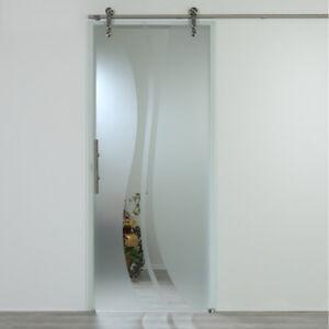 Schiebetür 900 x 2050 mm Glasschiebetür Klarglas mit Dekor Komplettset