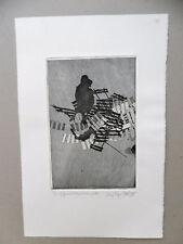 Louis René BERGE Gravure originale E/E Burin signé Caudéran Gironde Etching