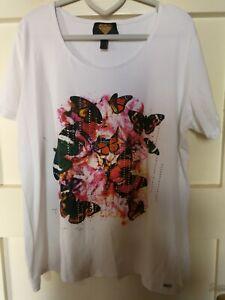 Sarah Kern Shirt weiß Strass Schmetterlinge Gr. 46 L:68cm
